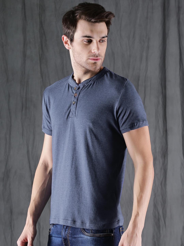 WROGN Men Blue Solid Henley T shirt