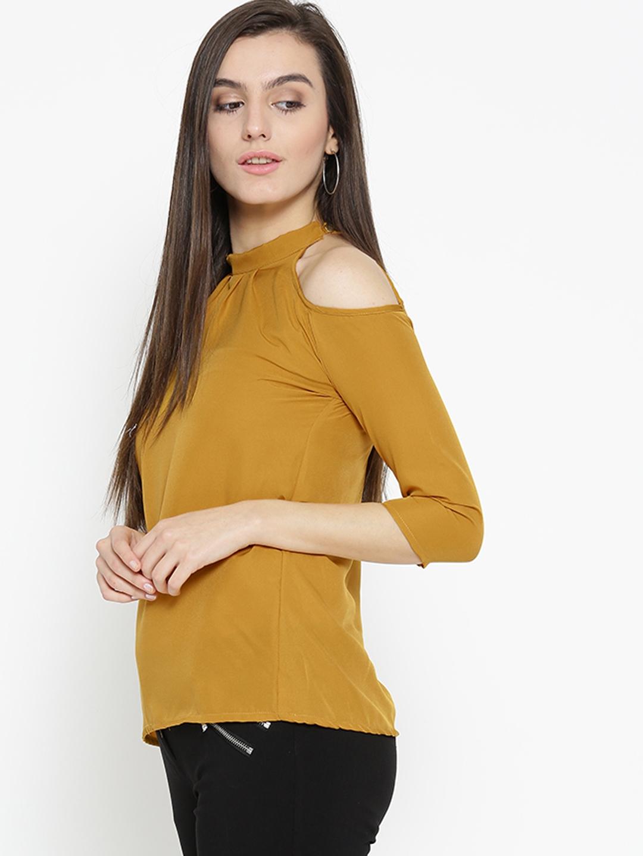 5bfcceb7e55b2 Buy U F Women Mustard Yellow Solid Top - Tops for Women 2034898