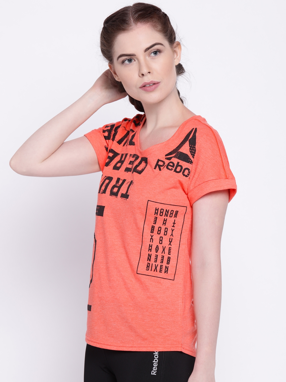 3d74ff6bcf17 Buy Reebok Women Coral Orange Printed SPEEDWICK T Shirt - Tshirts ...