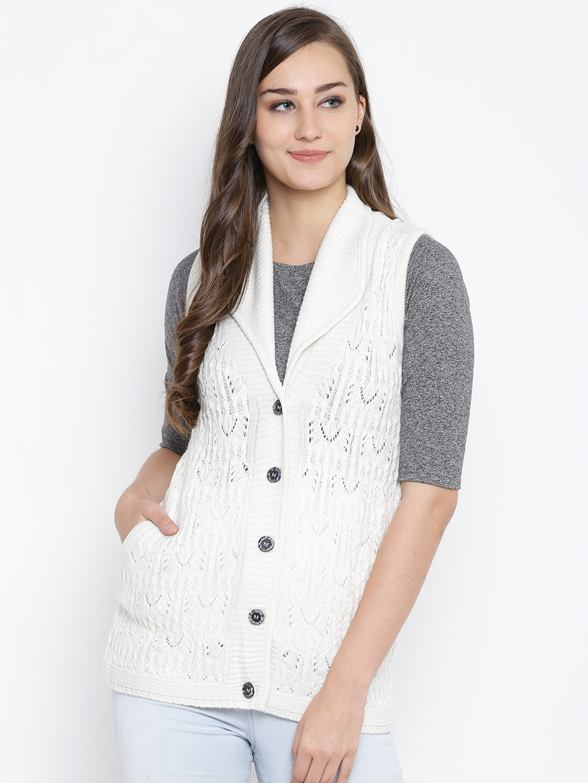 d71e93632b Buy Monte Carlo Women Off White Self Design Sleeveless Cardigan ...