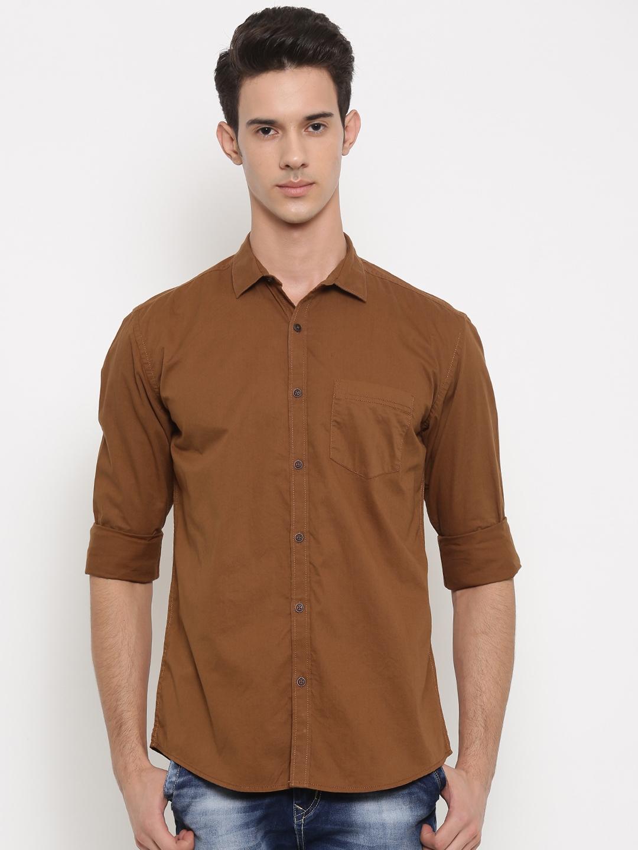 Nature Casuals Men Brown Slim Fit Solid Casual Shirt