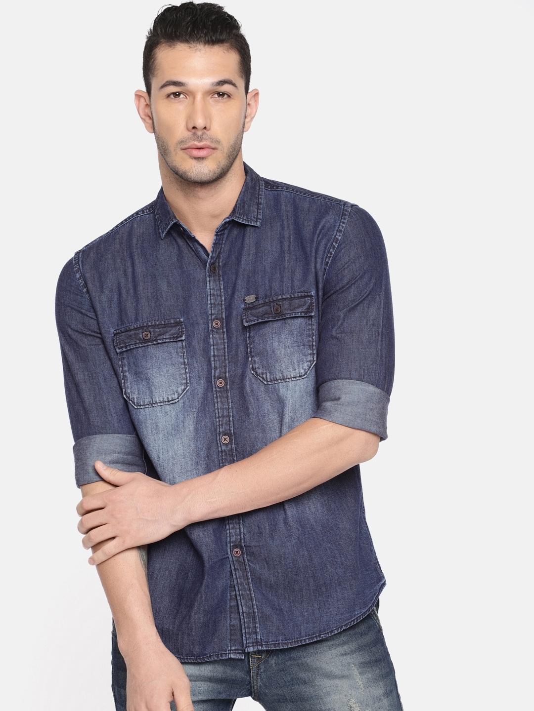 Nature Casuals Men Blue Slim Fit Faded Casual Denim Shirt