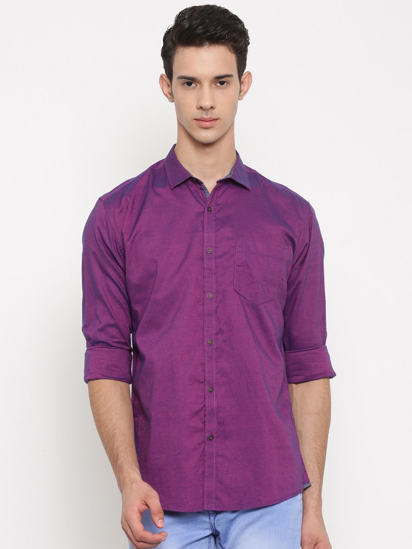Nature Casuals Men Purple Slim Fit Solid Casual Shirt