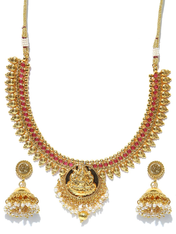 1179b66ed6637 Spargz Gold-Plated Goddess Lakshmi Stone-Studded Jewellery Set