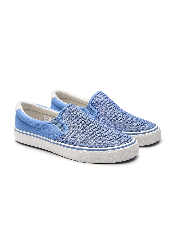 b8cd150ebebc7 Buy United Colors Of Benetton Men Blue Patterned Slip On Sneakers ...