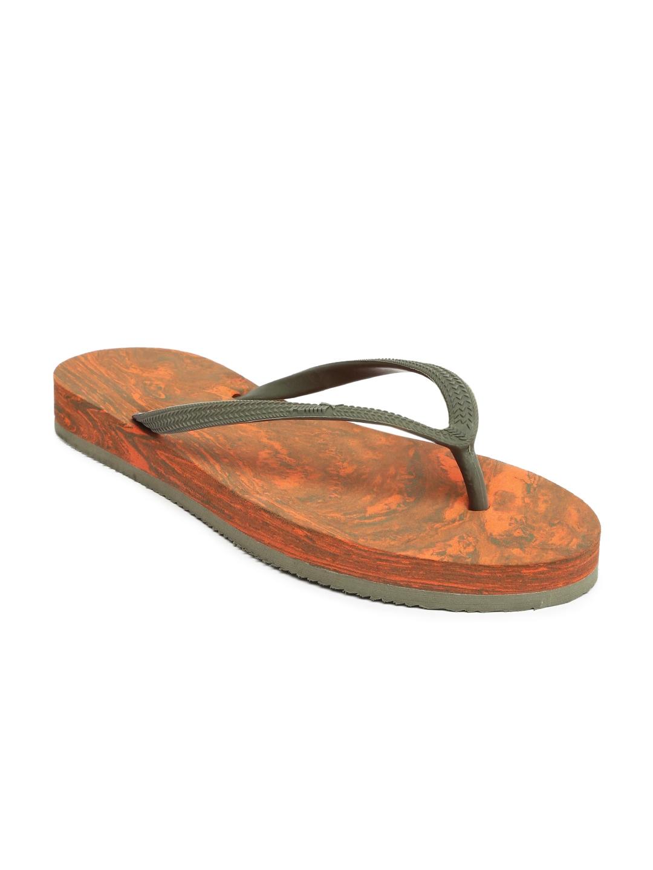 0f11c311099 Puma Women Olive Green   Orange First Flip Platform Marble Printed Flip- Flops