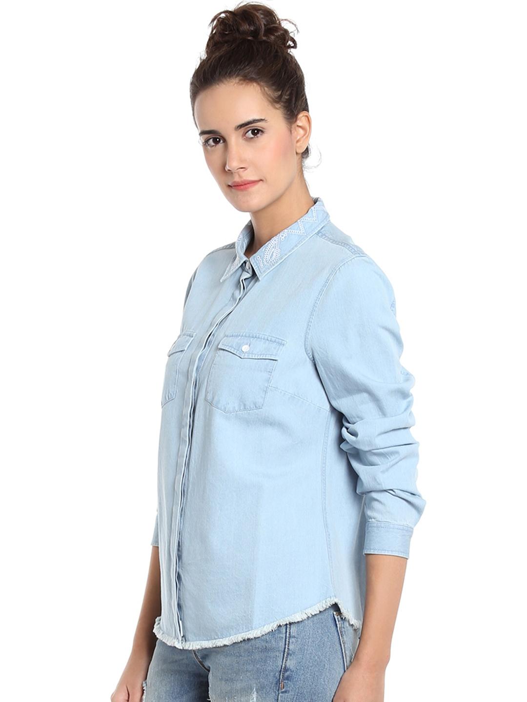 Buy Vero Moda Women Blue Solid Denim Shirt - Shirts for Women ... 1ce259552a7e