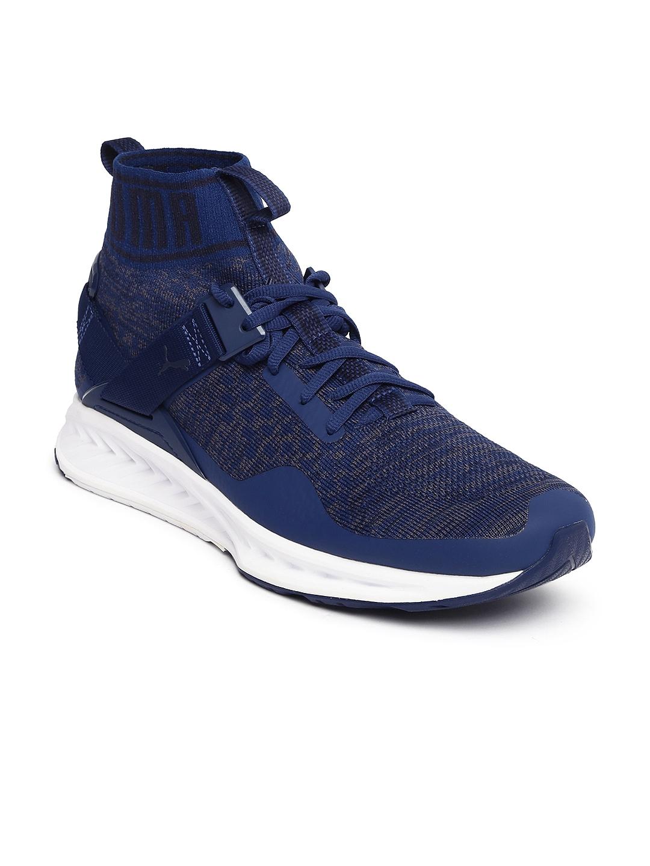 2cfeaf7dbb5b10 Buy Puma Unisex Navy Blue Mesh Ignite EvoKNIT Mid Top Running Shoes ...