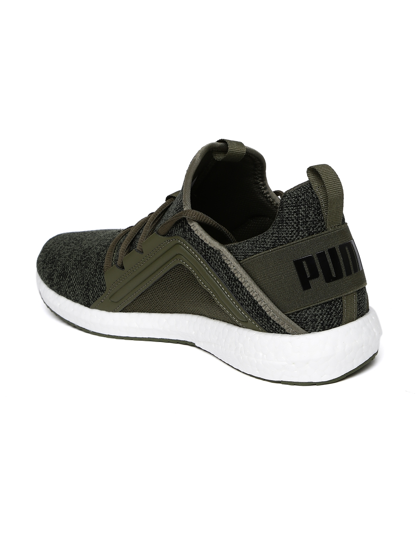 1d501778fc8 Buy Puma Men Olive Green   Grey Mega NRGY Knit Running Shoes ...