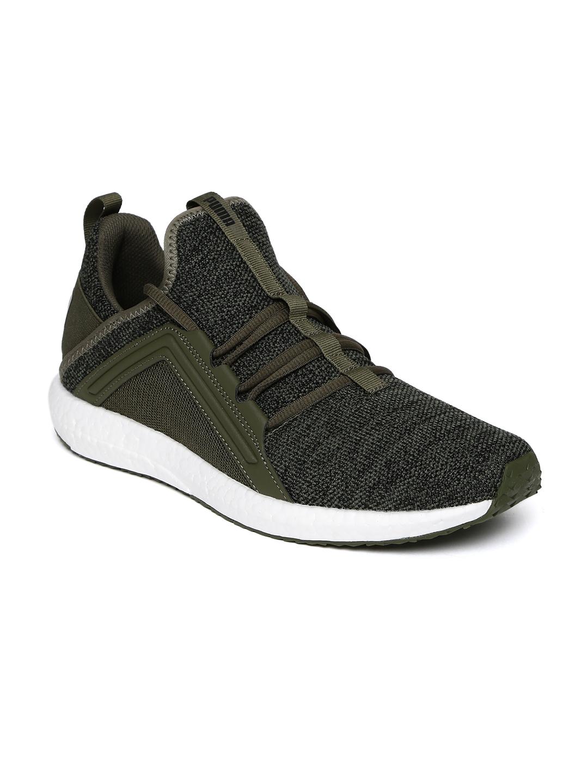 Buy Puma Men Olive Green   Grey Mega NRGY Knit Running Shoes ... 5a7d933a6