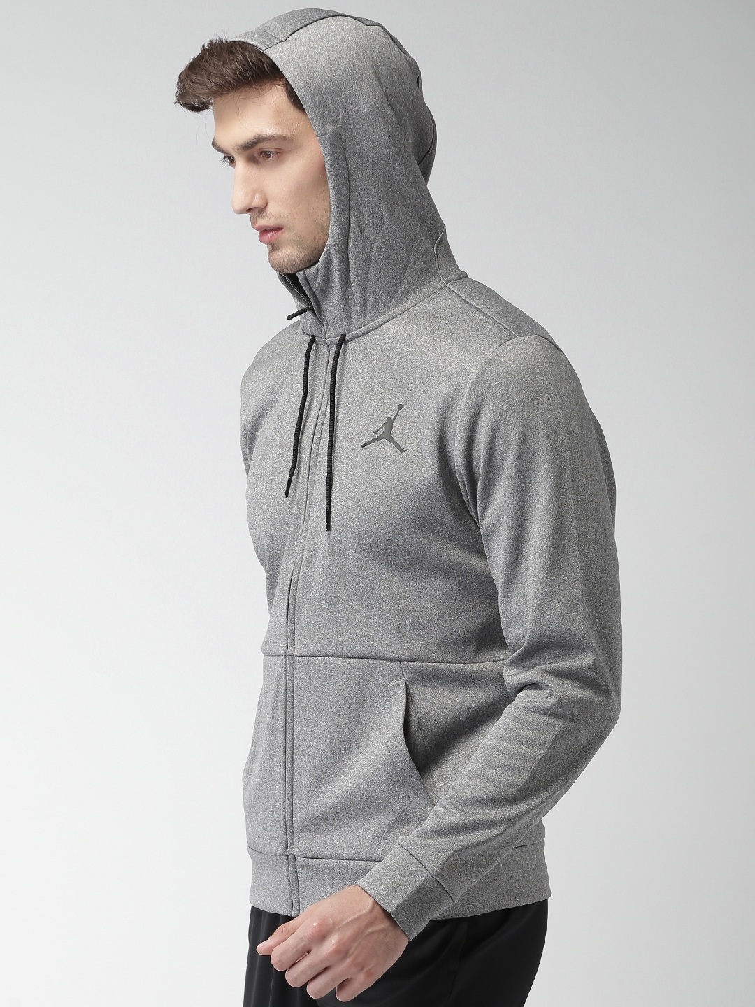 31731de57d5f Buy Nike Jordan Men Grey 23 Alpha Therma FZ Solid Hooded Sweatshirt ...