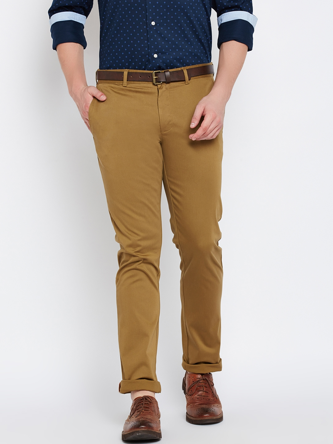 a9a767ace11 Buy Blackberrys Men Khaki Sharp Fit Solid Semiformal Trousers ...