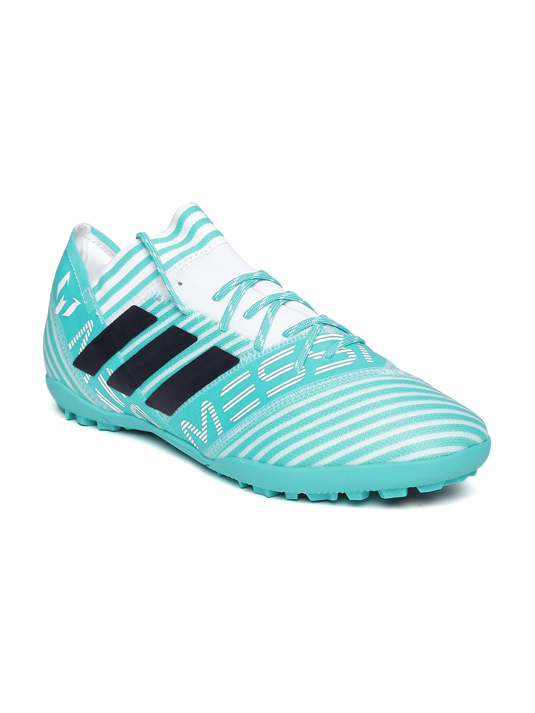 7459d27d0575 ADIDAS Men Blue   White Nemeziz Messi Tango 17.3 Turf Striped Football Shoes