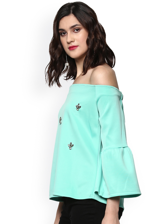 4f8c436a45591a Buy SASSAFRAS Women Sea Green Embellished Bardot Top - Tops for ...