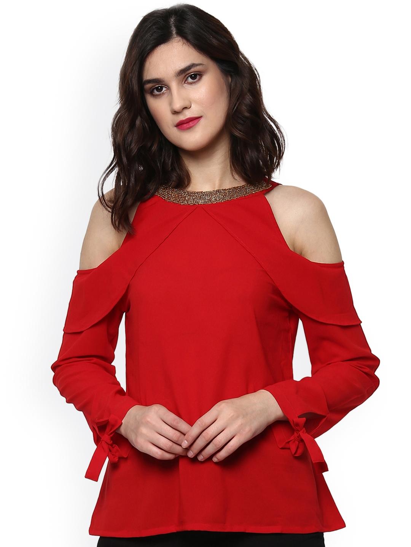 a2b73191b871 Buy SASSAFRAS Women Red Cold Shoulder Top - Tops for Women 2046258 ...