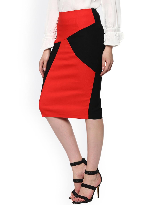 a80a855416 Buy SASSAFRAS Red & Black Colourblocked Pencil Skirt - Skirts for ...