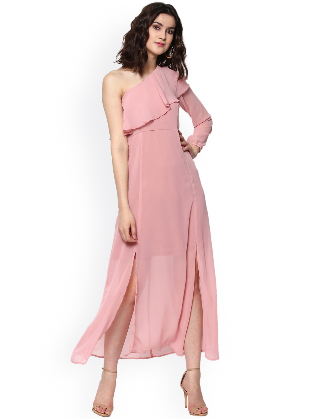 Buy Sassafras Women Pink Solid One Shoulder Maxi Dress Dresses For