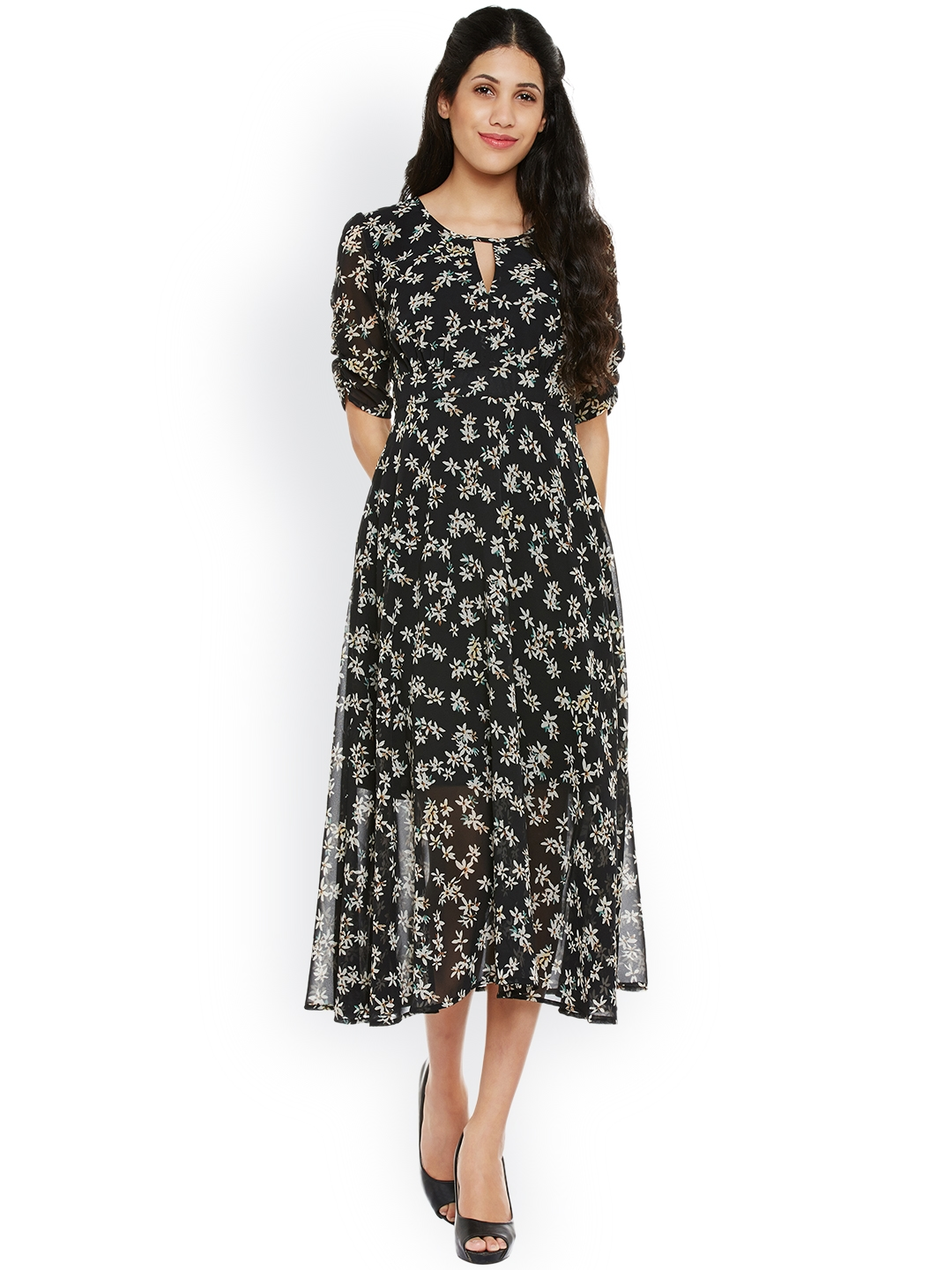Buy Nun Women Black Floral Print Fit   Flare Midi Dress - Dresses ... 2a54f688e