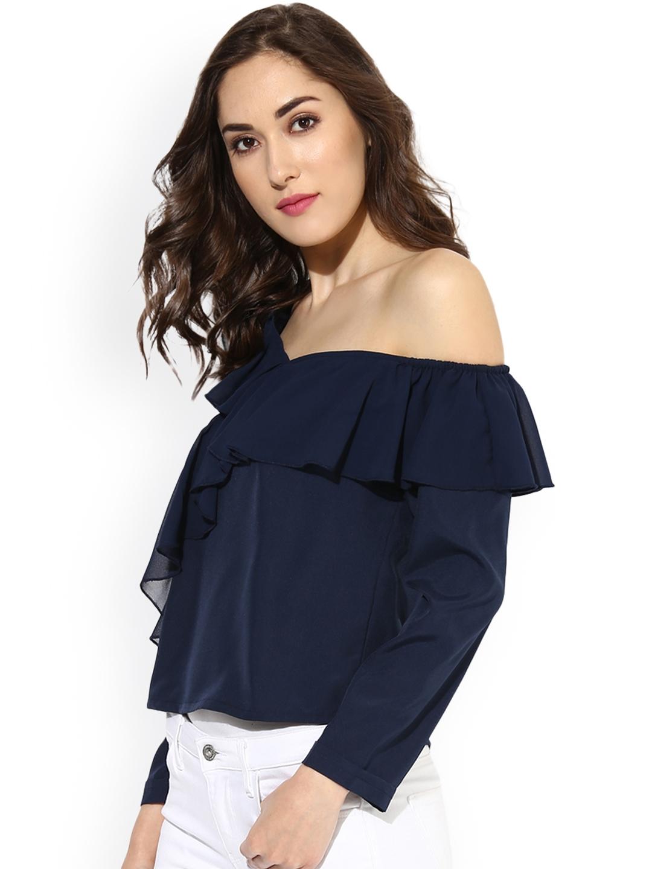 03aa5da3954011 Buy Besiva Women Navy Blue Solid One Shoulder Top - Tops for Women ...