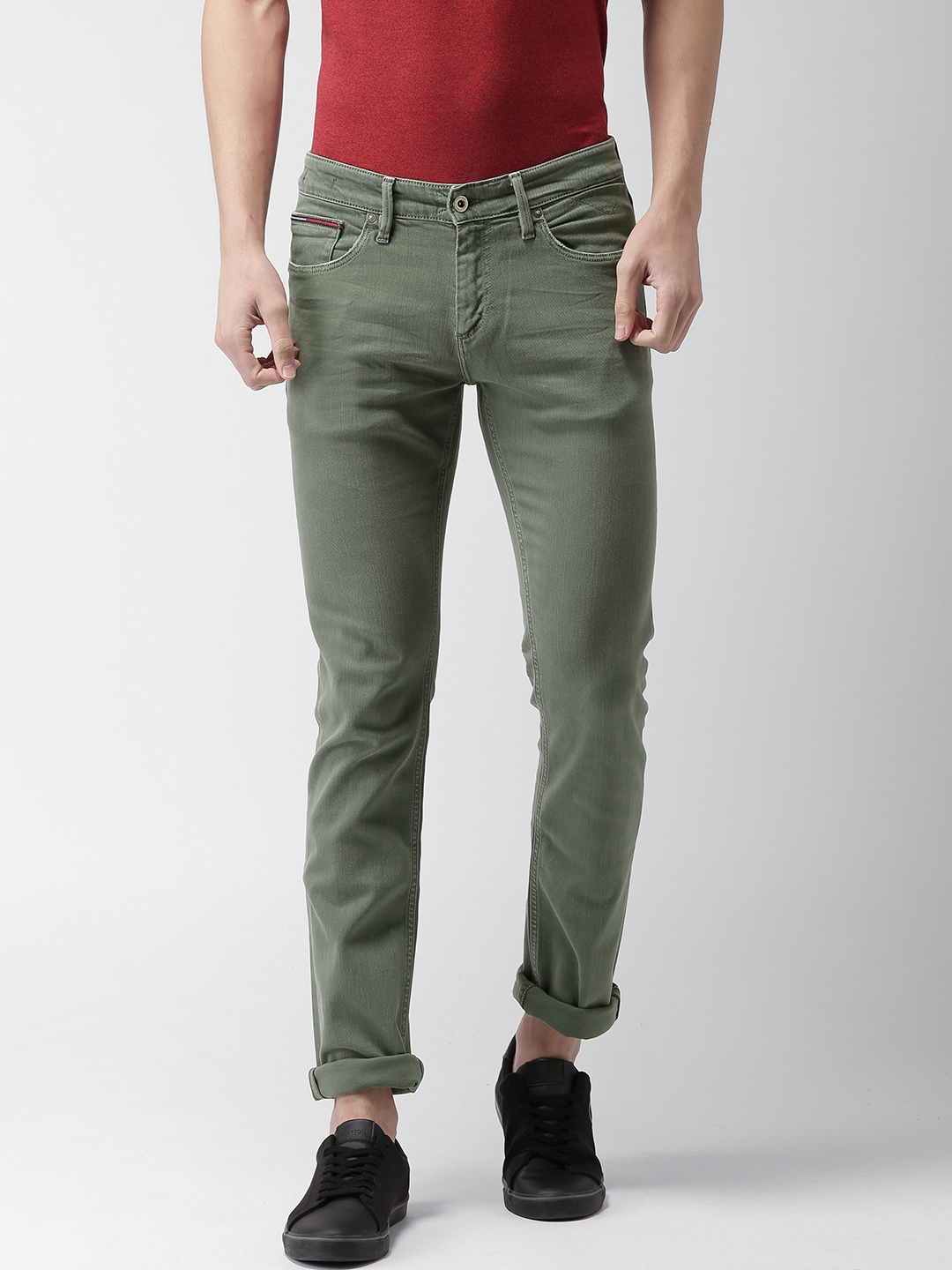 66b6f607f Tommy Hilfiger Men Green Scanton Slim Fit Low-Rise Clean Look Stretchable  Jeans