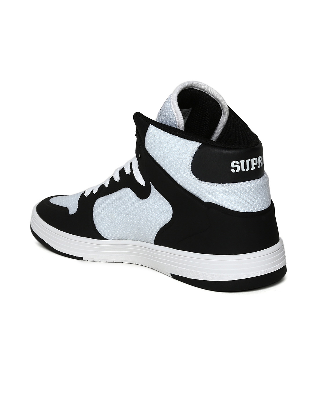 29ee3d4af577 Buy Supra Men Black   White Colourblocked Leather Mid Top Sneakers ...