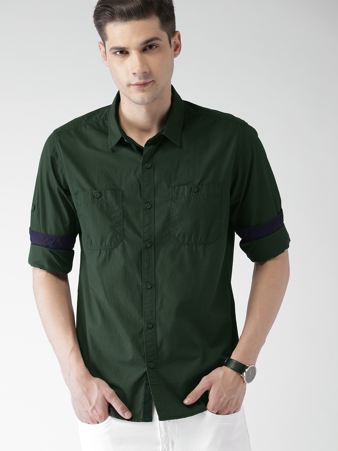 HIGHLANDER Men Dark Green Slim Fit Solid Casual Shirt