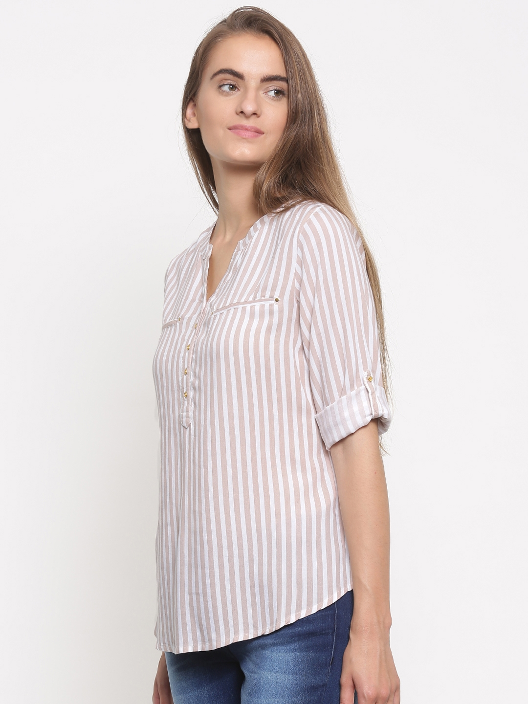 3499880ac2 Buy Fame Forever By Lifestyle Women Beige & White Striped Shirt ...