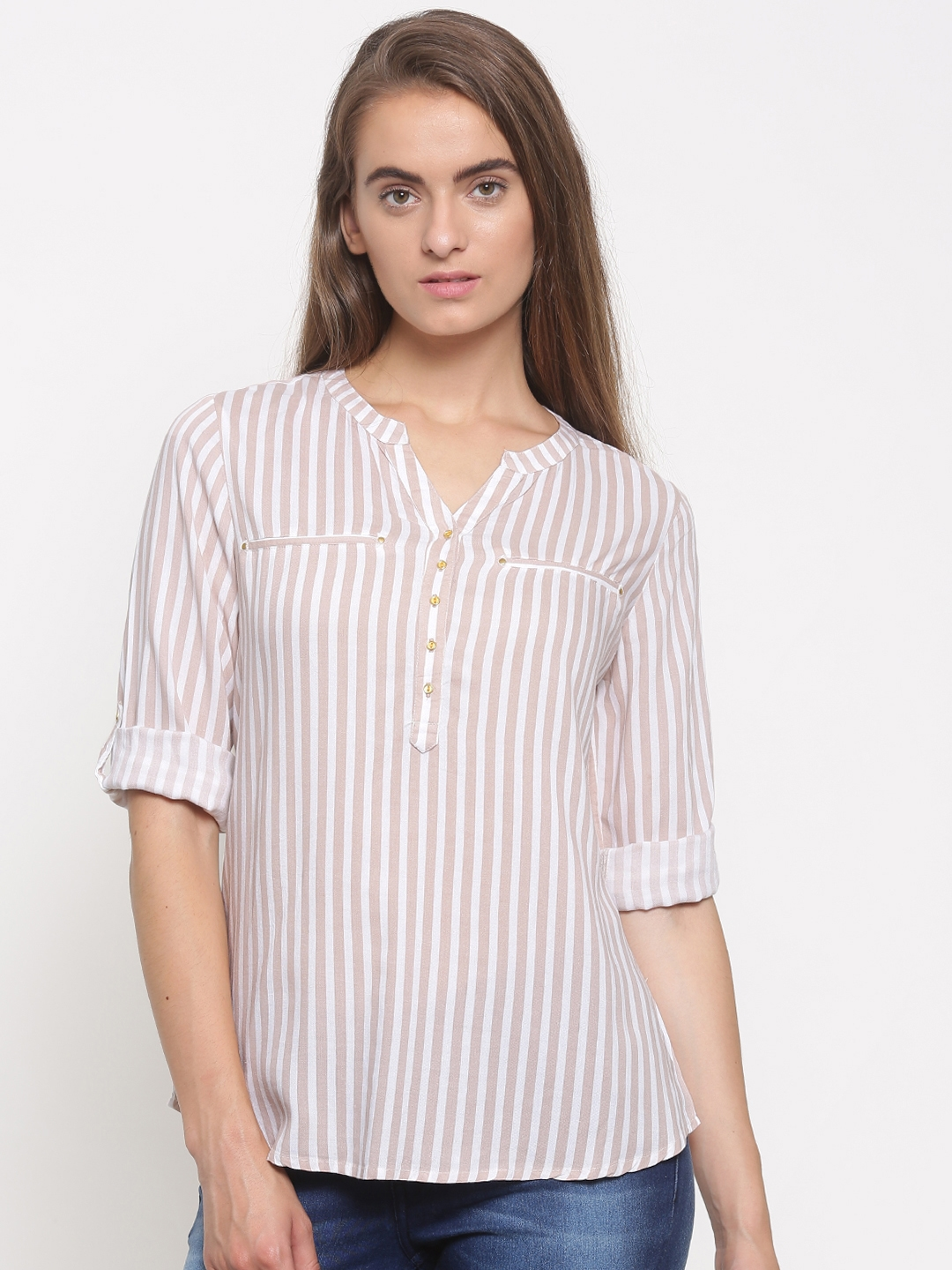 3019a635c5 Fame Forever by Lifestyle Women Beige & White Striped Shirt Style Top