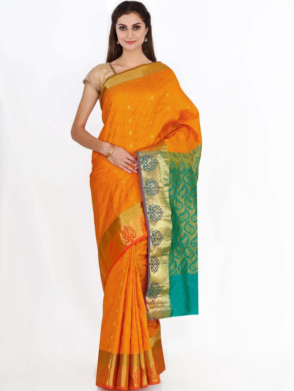 The Chennai Silks Classicate Orange Silk Woven Design Kanjeevaram Saree
