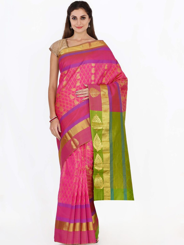 The Chennai Silks Classicate Pink Pure Silk Woven Design Kanjeevaram Saree