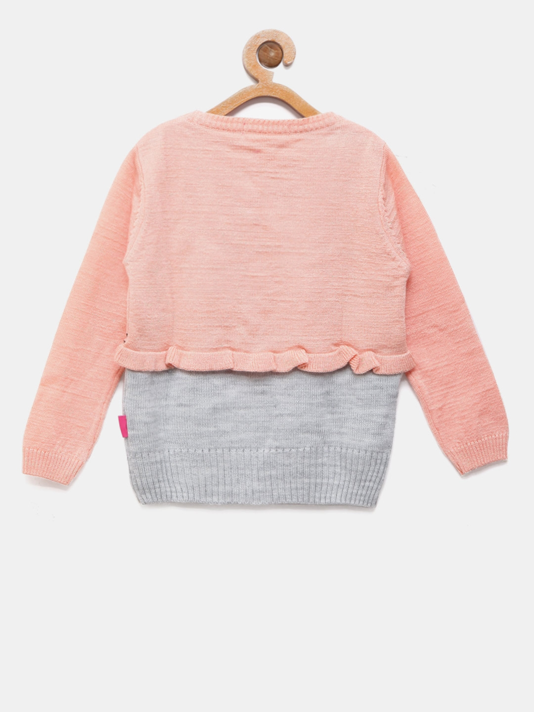97e859537867 Buy Wingsfield Girls Peach Coloured   Grey Melange Printed Sweater ...