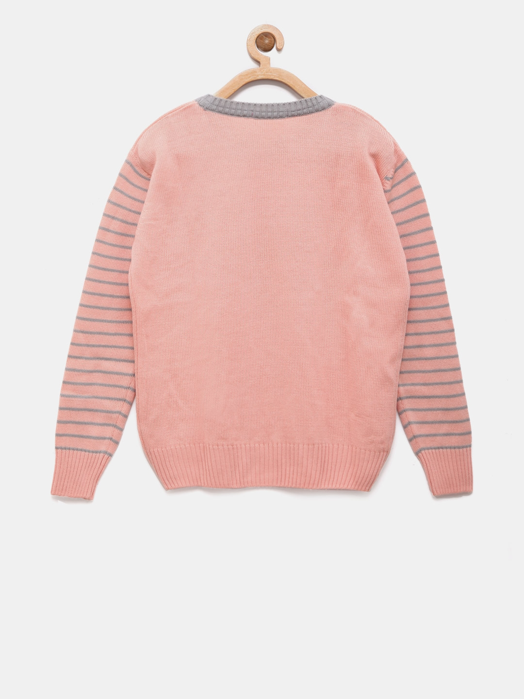 c71fb2109025 Buy Wingsfield Girls Peach Coloured   Grey Printed Sweater ...