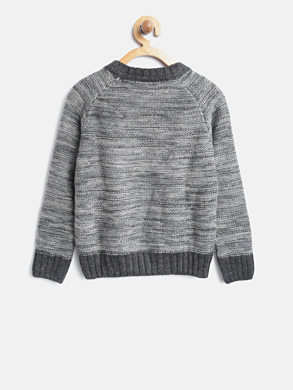 fac9cdf15de74d Buy Wingsfield Girls Grey Melange Printed Sweater - Sweaters for ...