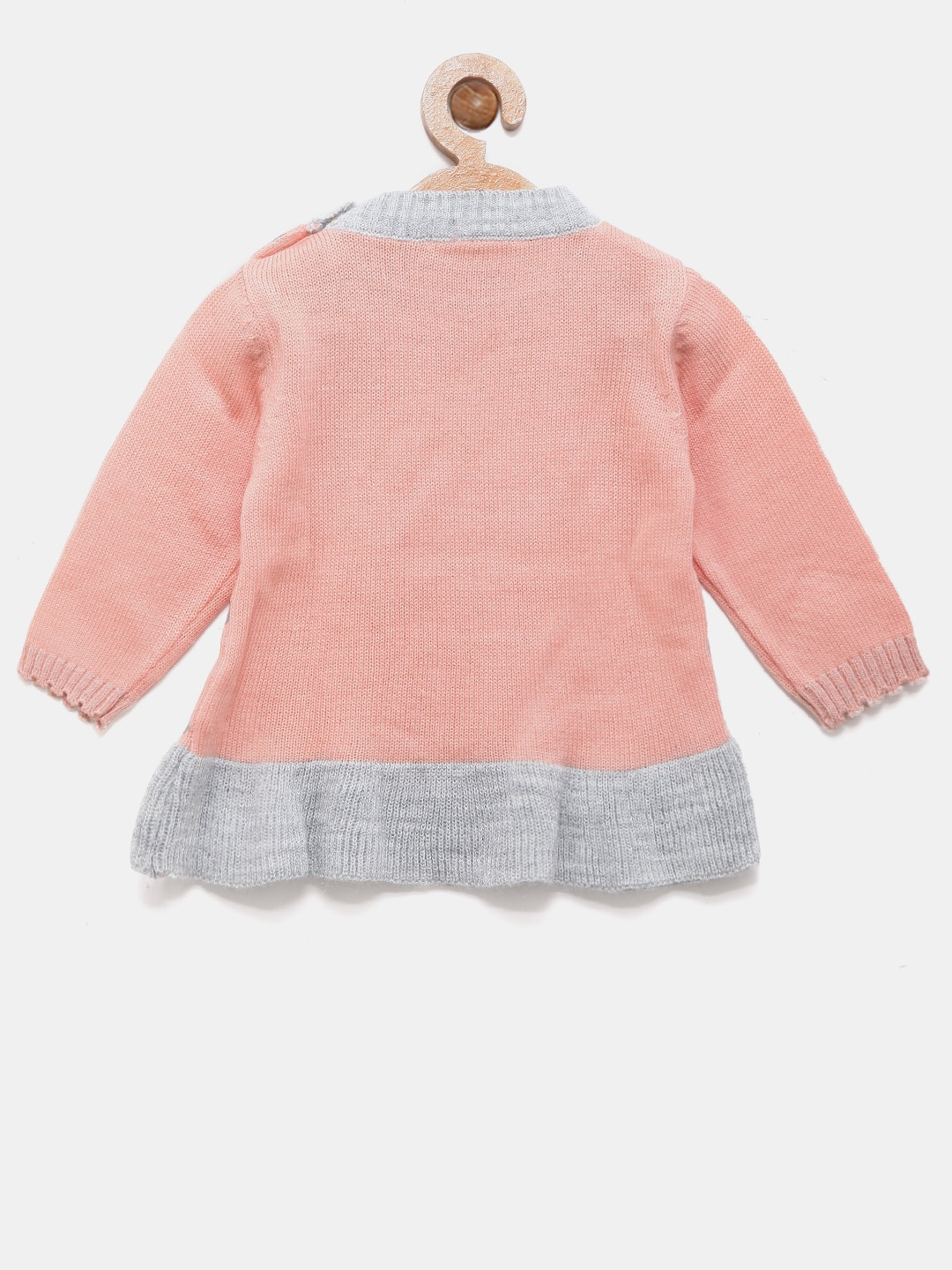 8aacaf149046 Buy Wingsfield Girls Peach Coloured   Silver Printed Sweater ...