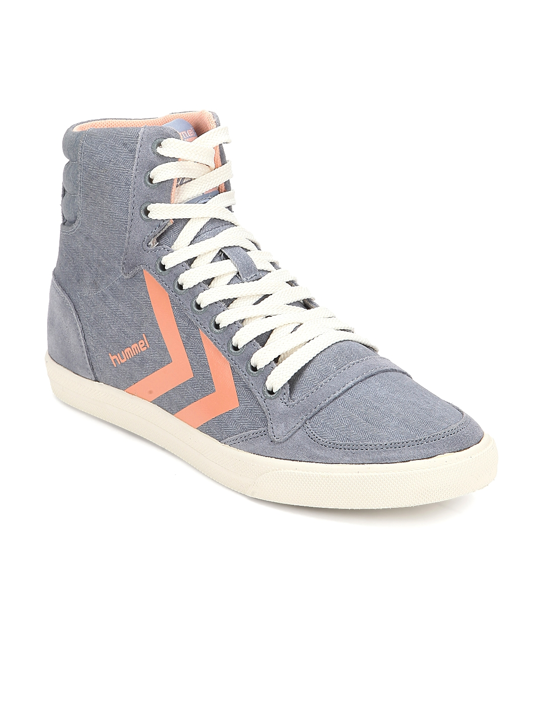 64c500ac402 hummel Women Grey Slimmer Stadil Smooth Hi Solid Canvas High-Top Sneakers