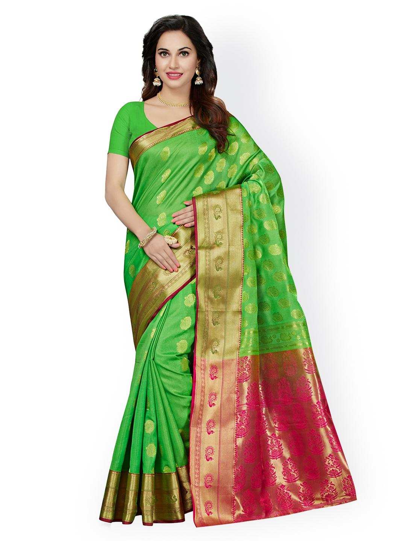 6c27db0650b Buy Ishin Green   Pink Art Silk Woven Design Saree - Sarees for ...