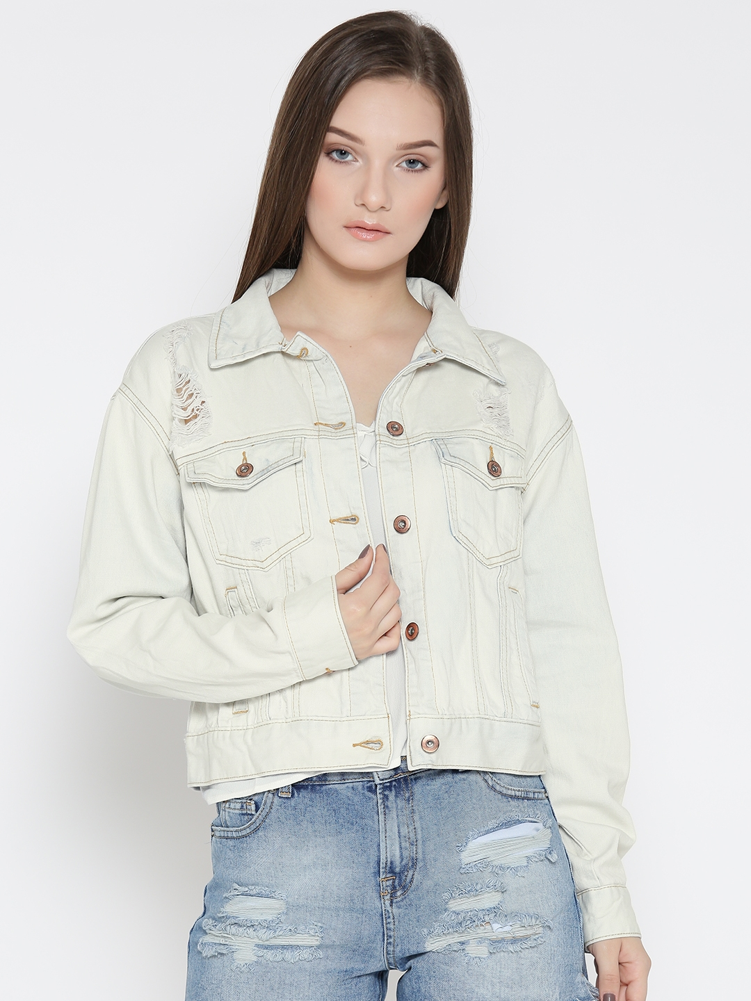 17228c1bd9be Buy FOREVER 21 Women Off White Solid Denim Jacket - Jackets for ...