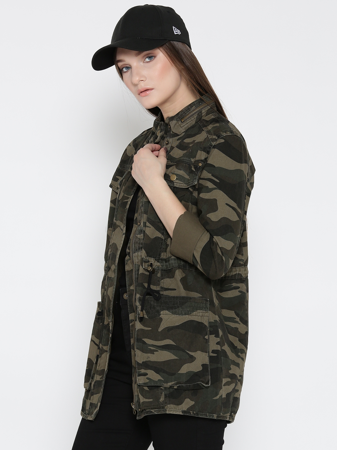 Buy Forever 21 Women Olive Green Camouflage Print Tailored Jacket