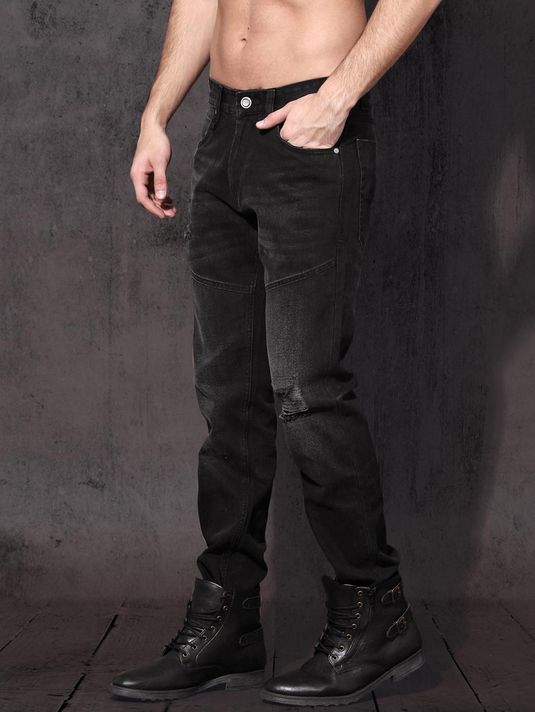 19227eae94f Buy Roadster Men Black Slim Fit Mid Rise Mildly Distressed Jeans ...