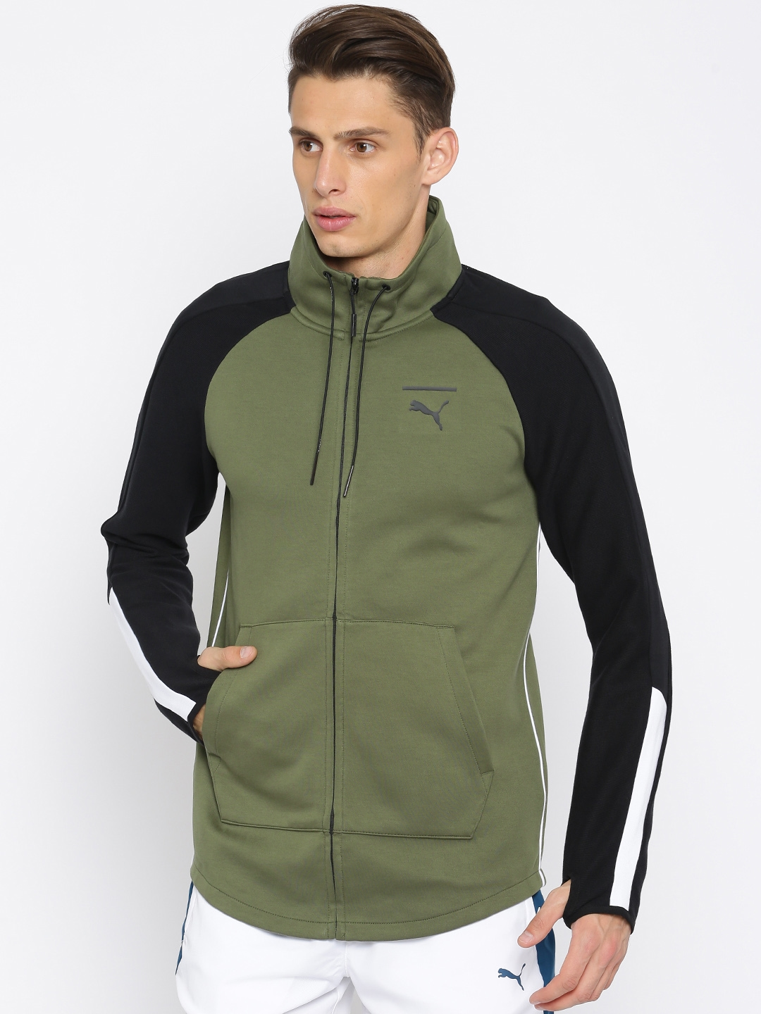 f187a47008b9 Buy Puma Men Olive Green Solid Evo T7 Sporty Jacket - Jackets for ...