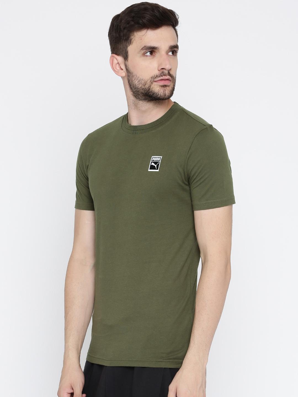 f674eea9adc Buy Puma Men Olive Green Solid Round Neck Classics T Shirt - Tshirts ...