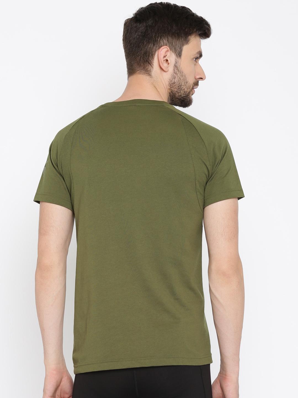 155f9e2fed7 Buy Puma Men Olive Green Solid Round Neck Evostripe T Shirt ...