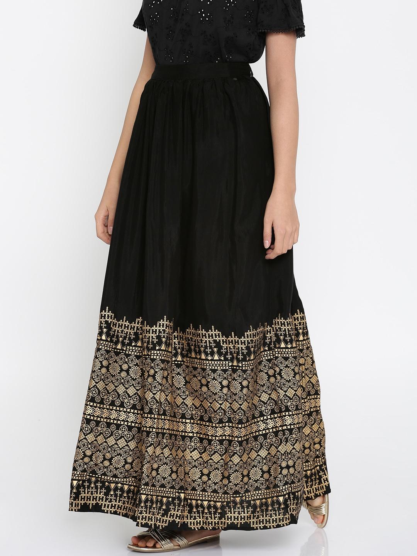 b1186a8864 Buy Global Desi Black Flared Printed Maxi Skirt - Skirts for Women ...