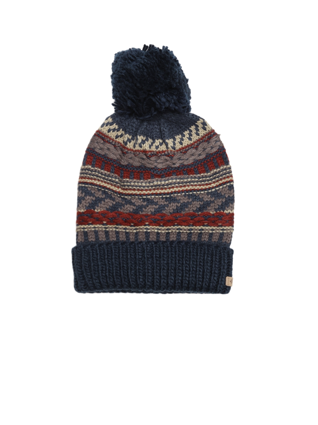 829c87230df5f Buy Columbia Unisex Navy   Beige Stay Frosty Patterned Winter Beanie - Caps  for Unisex 2063368