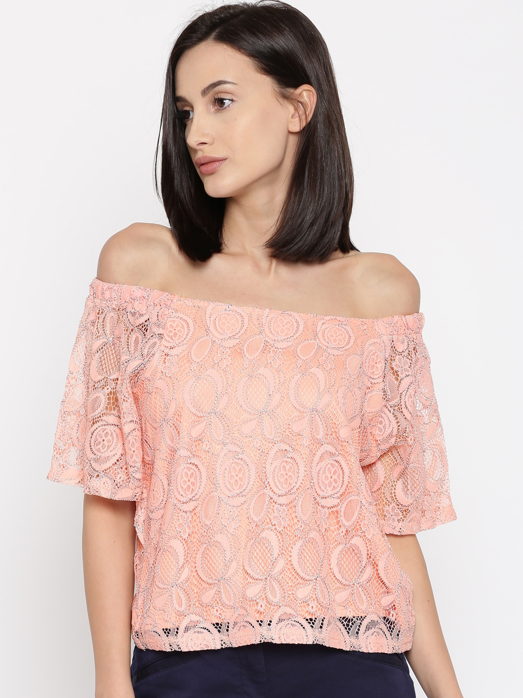 978dc0332af44 Buy Honey By Pantaloons Women Peach Coloured Lace Bardot Top - Tops ...