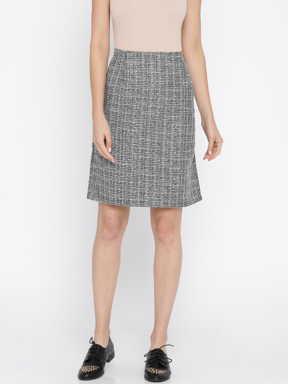 eb6ecca94e07 Buy Annabelle By Pantaloons Black & White Self Design A Line Skirt ...