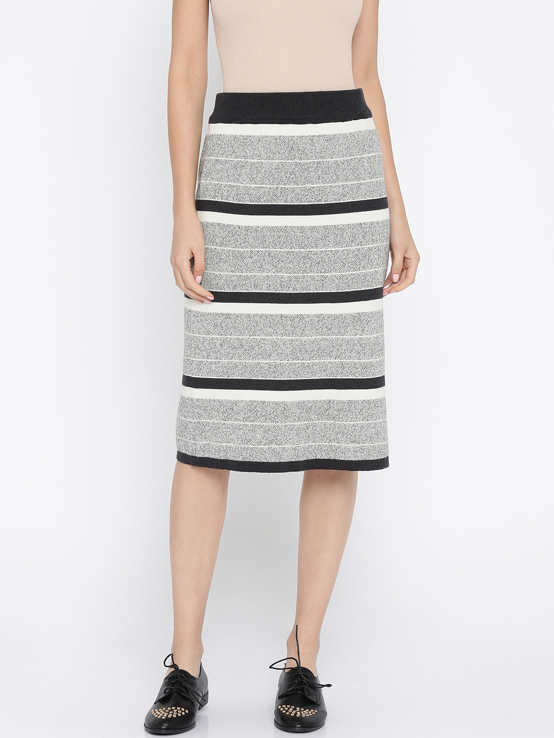 12aa7ce35a1e Buy Annabelle By Pantaloons Grey & Black Striped Pencil Skirt - Skirts for  Women 2066483 | Myntra