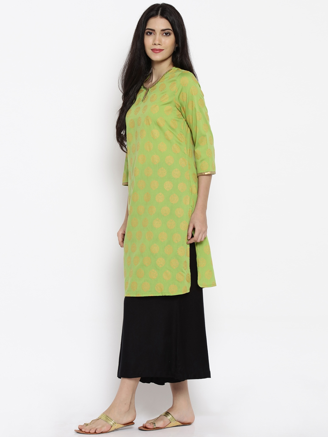 fa2968345fd Buy RANGMANCH BY PANTALOONS Women Green Printed Straight Kurta ...