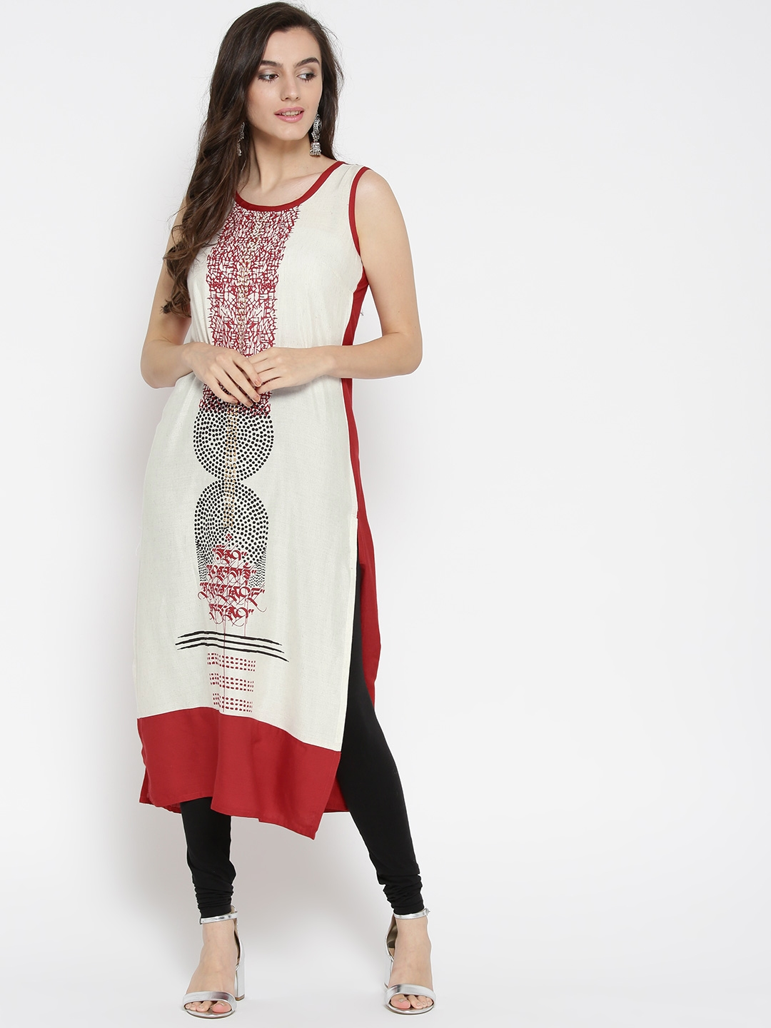 3c86ddc89 Buy RANGMANCH BY PANTALOONS Women Off White   Red Printed Straight ...
