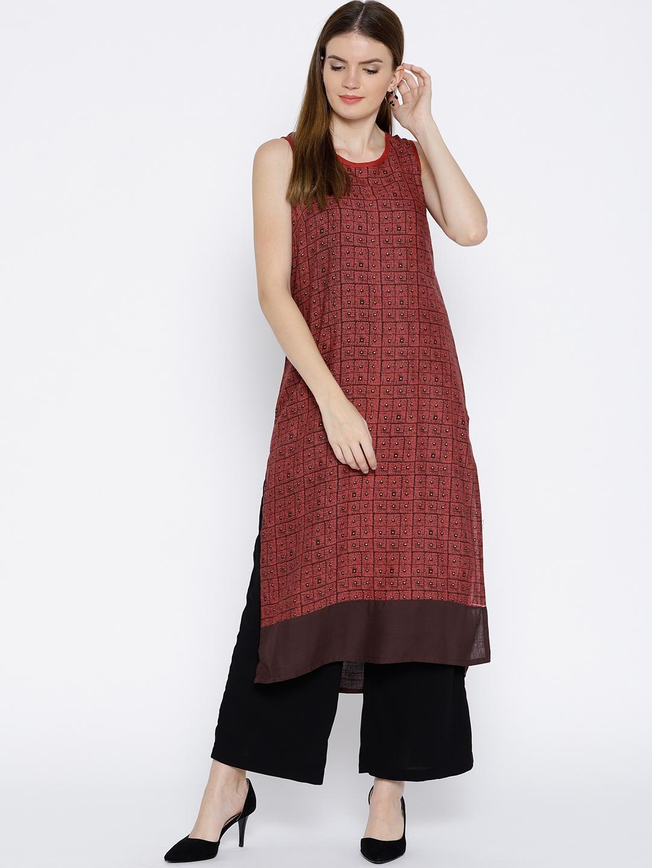 4d18128377a Buy RANGMANCH BY PANTALOONS Women Brown   Red Printed A Line Kurta ...